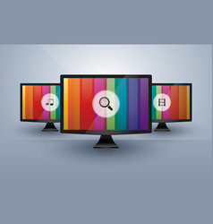 three monitors with media icons vector image