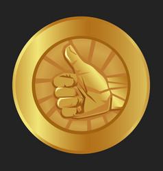 thumbs up gold medal emblem symbol ok agree vector image