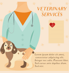 Veterinary medicine hospital doctor with cute dog vector