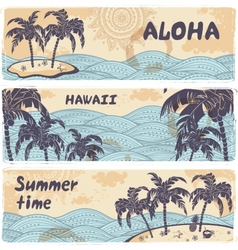Vintage banners of the islands in the ocean vector image