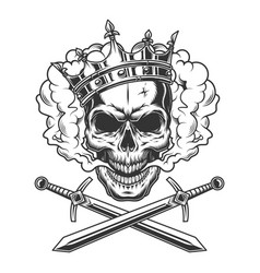 vintage prince skull in smoke cloud vector image