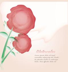 watercolor flower card decoration design vector image