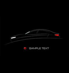 White silhouette car on black background vector