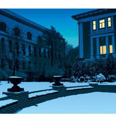 Winter evening in city vector image