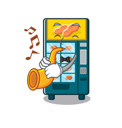 With trumpet bakery vending machine in a mascot vector