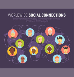 women icons and social network community concept vector image