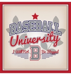 Baseball University Badge vector image vector image