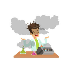 boy scientist after a failed experiment mixture vector image
