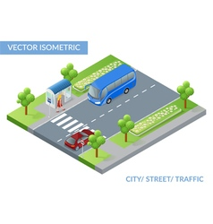 Isometric city street with traffic vector