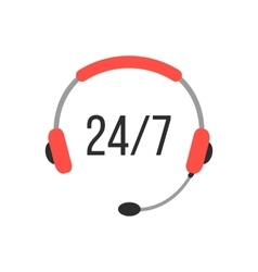 nonstop support icon with headphones vector image