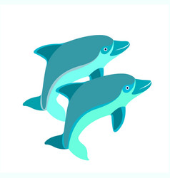 pair of dolphins vector image vector image