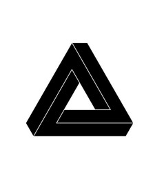 Penrose triangle icon geometric 3d object optical vector
