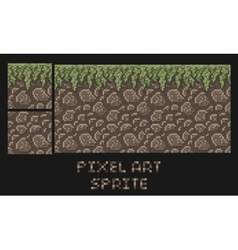 pixel art texture of stone dirt land with vector image