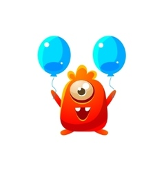 Red Toy Monster With Two Balloons vector image vector image