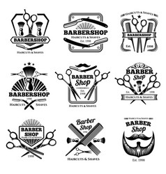 retro barber shop badges modern haircut vector image