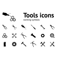Tools icons set Wrench key glue pliers cogwheel vector image vector image