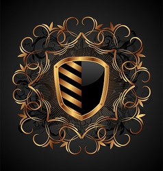 ornate heraldic shield vector image vector image