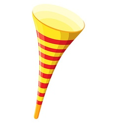 Party horn in yellow color vector image vector image