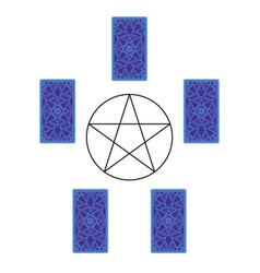 tarot card spread with pentagram reverse side vector image vector image