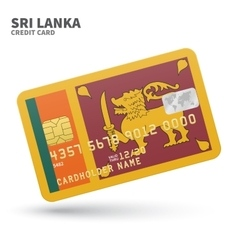 Credit card with Sri Lanka flag background for vector image vector image
