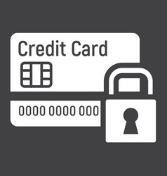 credit card with padlock solid icon protection vector image