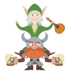 Friends drunken elf and dwarf vector image vector image