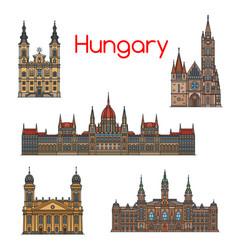 hungarian travel landmark thin line icon set vector image vector image