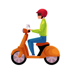 scooter moped motor bicycle rider wearing helmet vector image vector image
