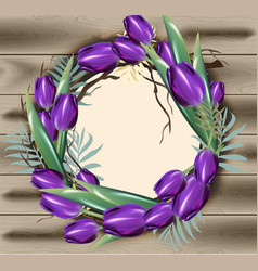 tulip flowers wreath frame decor with vector image
