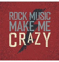 Vintage label with lightning Rock music make me vector image