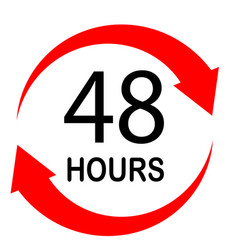 48 hours on white background flat style 48 hours vector image