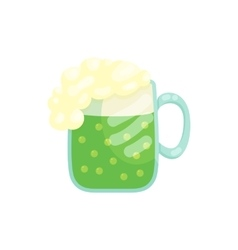 A beer mug of green beer with a foamy head icon vector