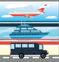 airplane yacht and bus transportation set icon vector image