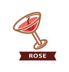 alcohol drink rose decorated with red berry vector image
