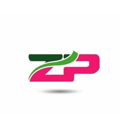 Alphabet Z and P letter logo vector image
