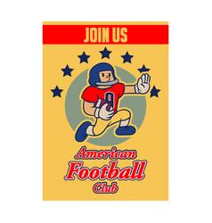 American football cartoon vintage recruitment vector