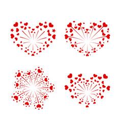 beautiful heart-fireworks set red romantic salute vector image