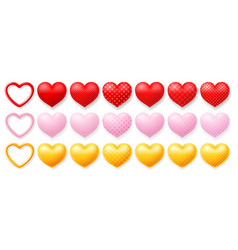 big set multi colored hearts with patterns vector image