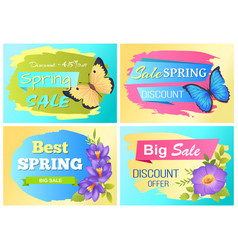 Big spring sale advert labels flowers butterfly vector
