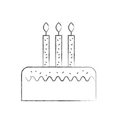 birthday cake with three candles celebration event vector image