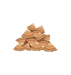 brown woodpile firewood and stacks wooden logs vector image