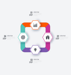 Business infographics template 4 steps vector