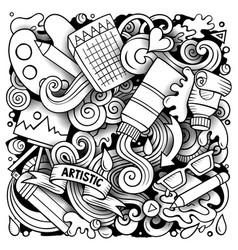 Cartoon doodles art and design vector