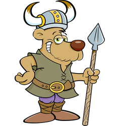 Cartoon of a bear dressed as a viking vector