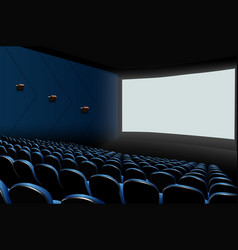 Cinema auditorium with blue seats and white blank vector
