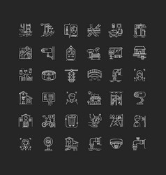 City infrastructure chalk white icons set vector