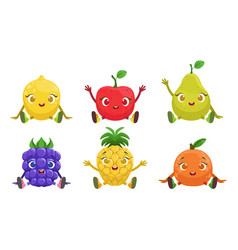 collection cute fruit and berries cartoon vector image