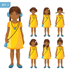 collection of cute african little girls with vector image