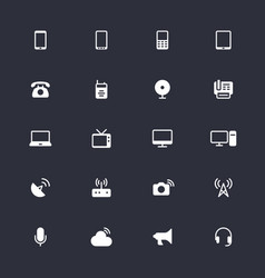 Communication device simple icons vector
