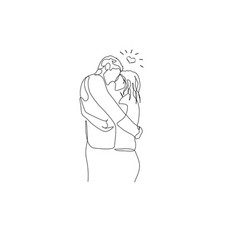 continuous one line loving couple hugs and looks vector image